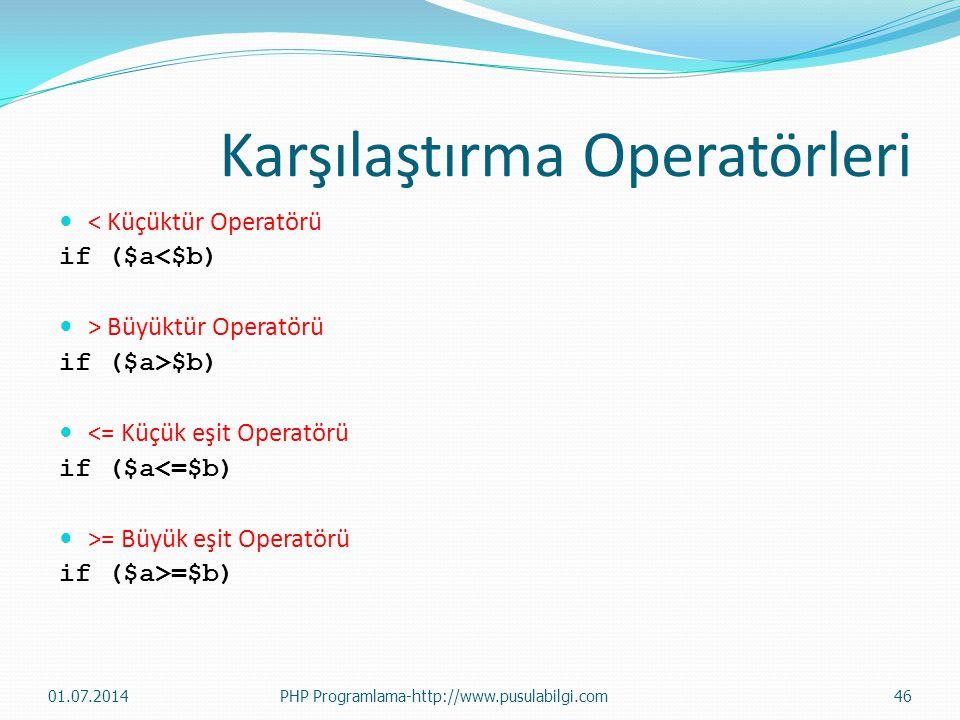 Karşılaştırma Operatörleri  < Küçüktür Operatörü if ($a<$b)  > Büyüktür Operatörü if ($a>$b)  <= Küçük eşit Operatörü if ($a<=$b)  >= Büyük eşit O
