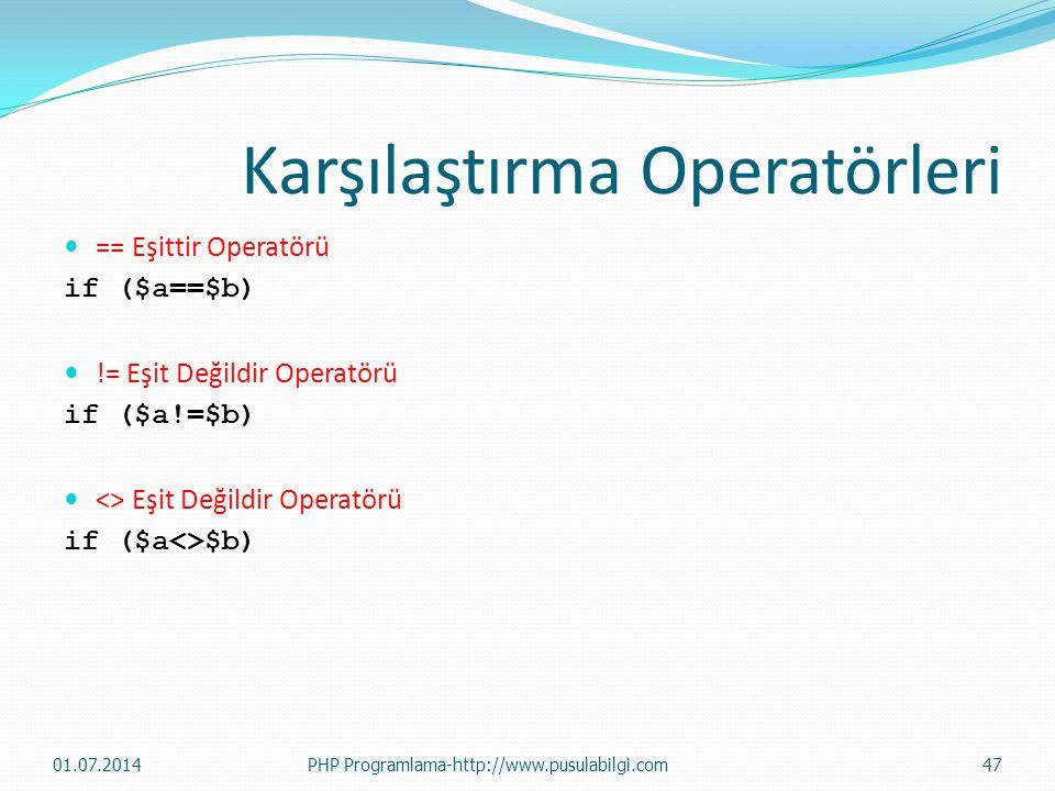 Karşılaştırma Operatörleri  == Eşittir Operatörü if ($a==$b)  != Eşit Değildir Operatörü if ($a!=$b)  <> Eşit Değildir Operatörü if ($a<>$b) 01.07.
