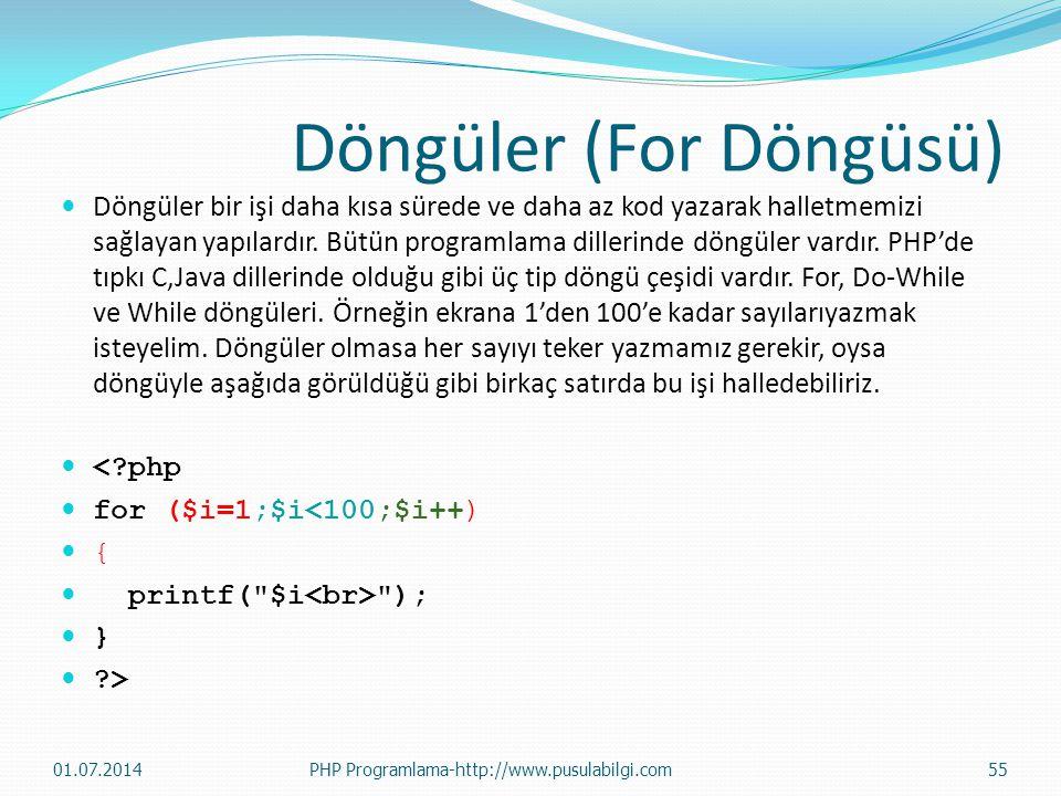 Döngüler (For Döngüsü)  Döngüler bir işi daha kısa sürede ve daha az kod yazarak halletmemizi sağlayan yapılardır. Bütün programlama dillerinde döngü