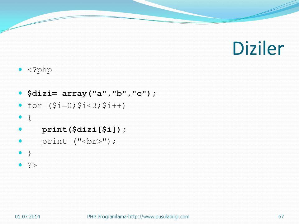Diziler  <?php  $dizi= array( a , b , c );  for ($i=0;$i<3;$i++)  {  print($dizi[$i]);  print ( );  }  ?> 01.07.2014PHP Programlama-http://www.pusulabilgi.com67