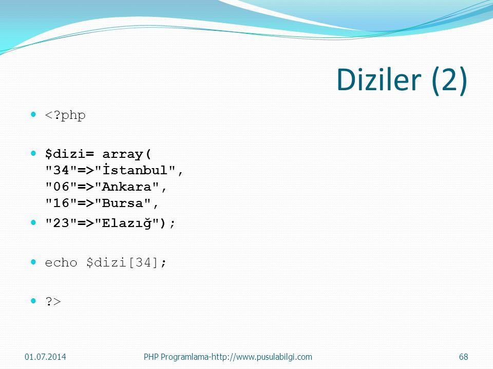 Diziler (2)  <?php  $dizi= array( 34 => İstanbul , 06 => Ankara , 16 => Bursa ,  23 => Elazığ );  echo $dizi[34];  ?> 01.07.2014PHP Programlama-http://www.pusulabilgi.com68