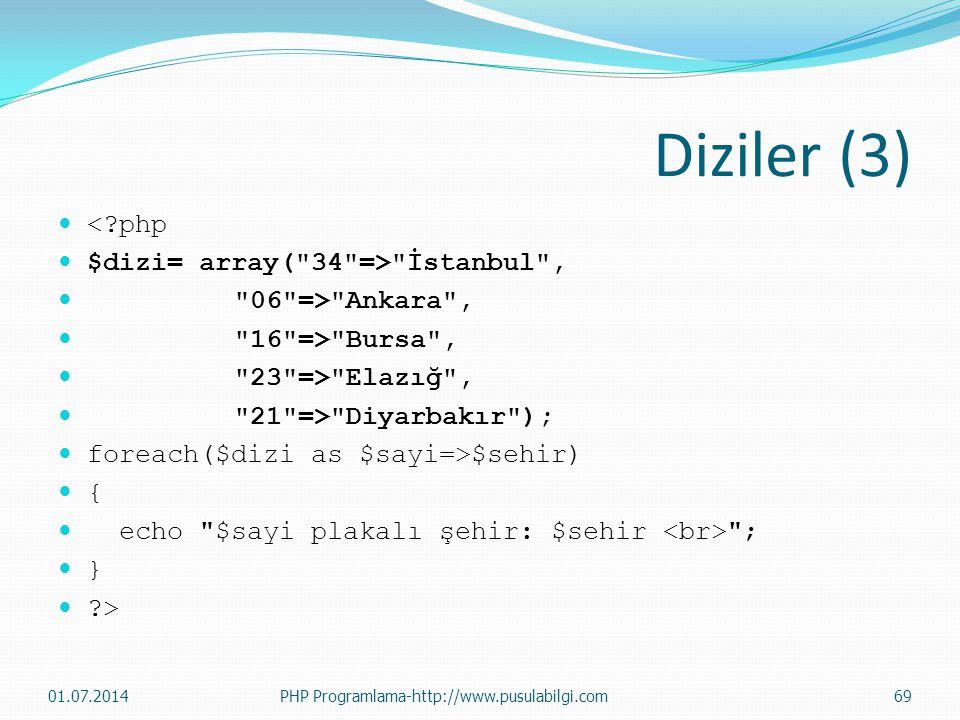 Diziler (3)  <?php  $dizi= array( 34 => İstanbul ,  06 => Ankara ,  16 => Bursa ,  23 => Elazığ ,  21 => Diyarbakır );  foreach($dizi as $sayi=>$sehir)  {  echo $sayi plakalı şehir: $sehir ;  }  ?> 01.07.2014PHP Programlama-http://www.pusulabilgi.com69