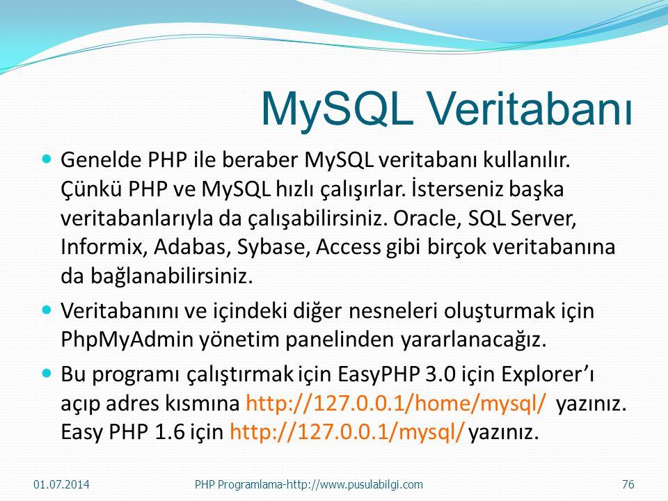 MySQL Veritabanı  Genelde PHP ile beraber MySQL veritabanı kullanılır. Çünkü PHP ve MySQL hızlı çalışırlar. İsterseniz başka veritabanlarıyla da çalı