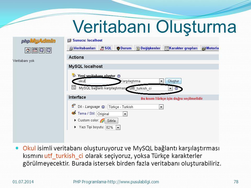Veritabanı Oluşturma  Okul isimli veritabanı oluşturuyoruz ve MySQL bağlantı karşılaştırması kısmını utf_turkish_ci olarak seçiyoruz, yoksa Türkçe karakterler görülmeyecektir.