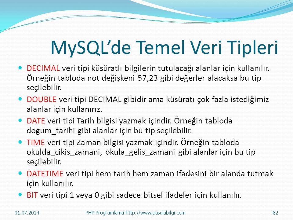 MySQL'de Temel Veri Tipleri  DECIMAL veri tipi küsüratlı bilgilerin tutulacağı alanlar için kullanılır.