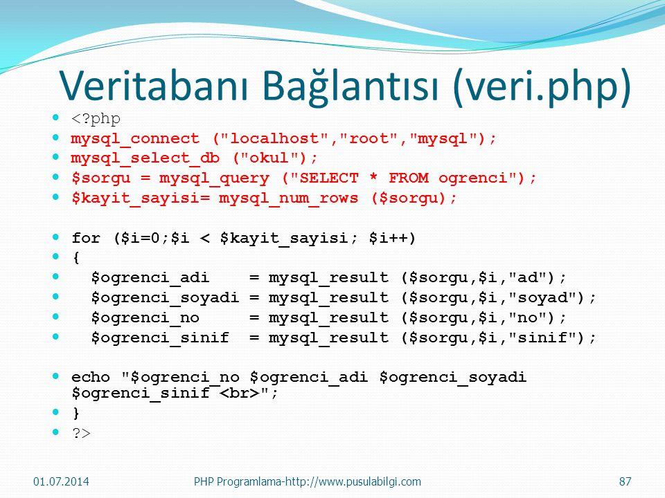 Veritabanı Bağlantısı (veri.php)  <?php  mysql_connect ( localhost , root , mysql );  mysql_select_db ( okul );  $sorgu = mysql_query ( SELECT * FROM ogrenci );  $kayit_sayisi= mysql_num_rows ($sorgu);  for ($i=0;$i < $kayit_sayisi; $i++)  {  $ogrenci_adi = mysql_result ($sorgu,$i, ad );  $ogrenci_soyadi = mysql_result ($sorgu,$i, soyad );  $ogrenci_no = mysql_result ($sorgu,$i, no );  $ogrenci_sinif = mysql_result ($sorgu,$i, sinif );  echo $ogrenci_no $ogrenci_adi $ogrenci_soyadi $ogrenci_sinif ;  }  ?> 01.07.201487PHP Programlama-http://www.pusulabilgi.com