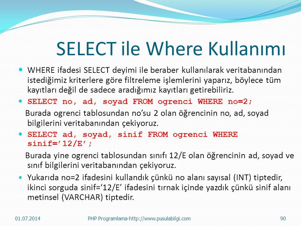 SELECT ile Where Kullanımı  WHERE ifadesi SELECT deyimi ile beraber kullanılarak veritabanından istediğimiz kriterlere göre filtreleme işlemlerini yaparız, böylece tüm kayıtları değil de sadece aradığımız kayıtları getirebiliriz.