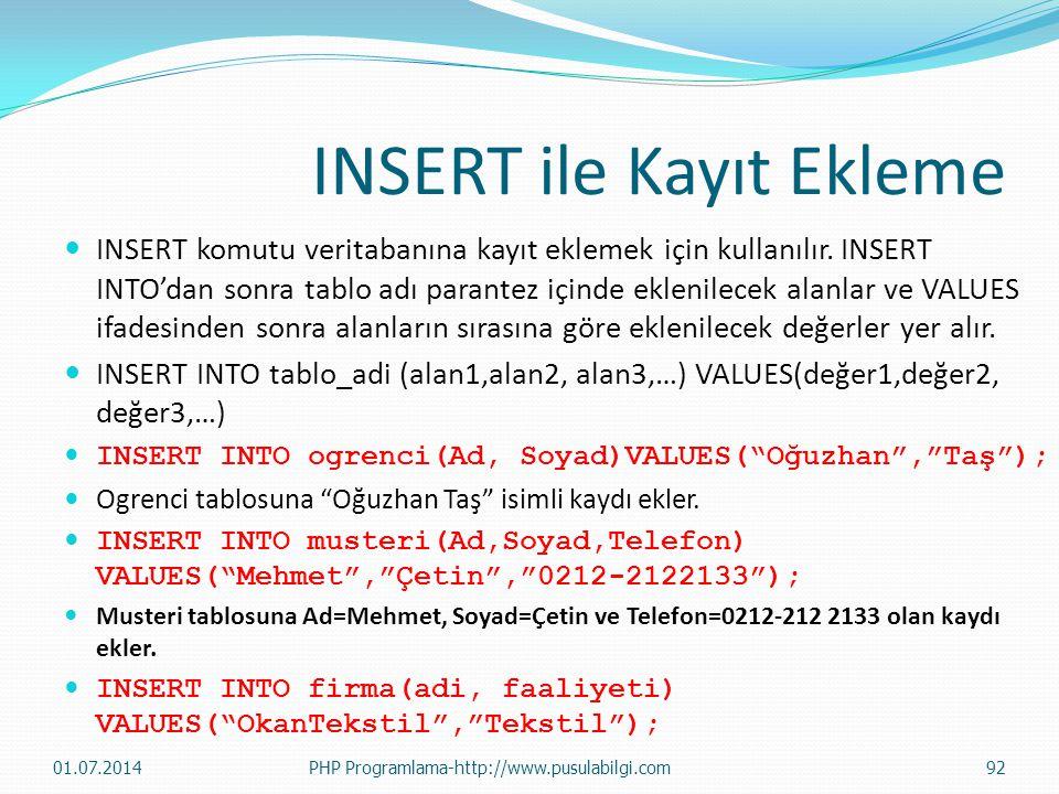 INSERT ile Kayıt Ekleme  INSERT komutu veritabanına kayıt eklemek için kullanılır. INSERT INTO'dan sonra tablo adı parantez içinde eklenilecek alanla
