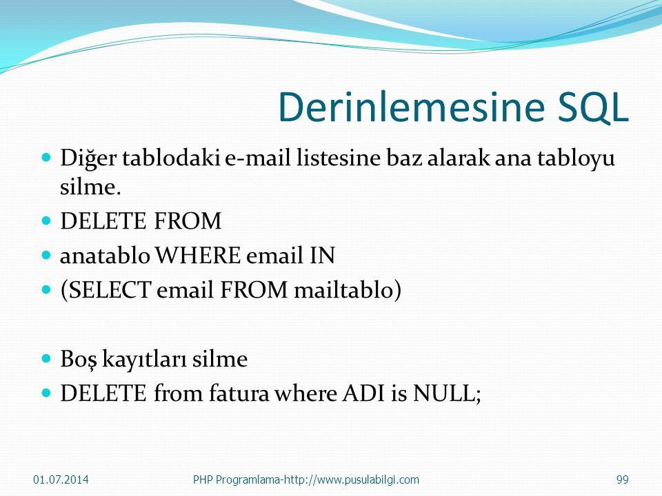Derinlemesine SQL  Diğer tablodaki e-mail listesine baz alarak ana tabloyu silme.  DELETE FROM  anatablo WHERE email IN  (SELECT email FROM mailta