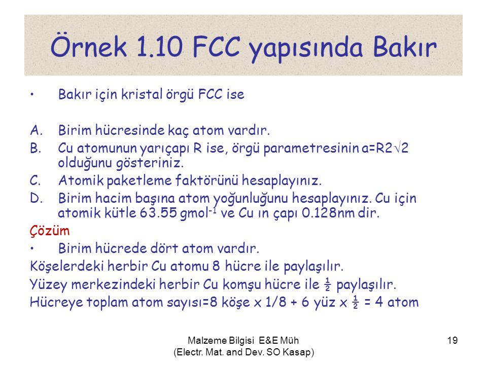 Malzeme Bilgisi E&E Müh (Electr. Mat. and Dev. SO Kasap) 19 Örnek 1.10 FCC yapısında Bakır •Bakır için kristal örgü FCC ise A.Birim hücresinde kaç ato