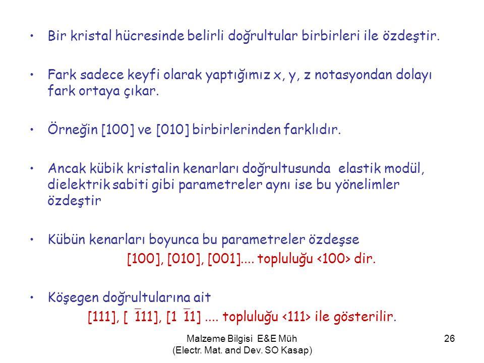 Malzeme Bilgisi E&E Müh (Electr. Mat. and Dev. SO Kasap) 26 •Bir kristal hücresinde belirli doğrultular birbirleri ile özdeştir. •Fark sadece keyfi ol