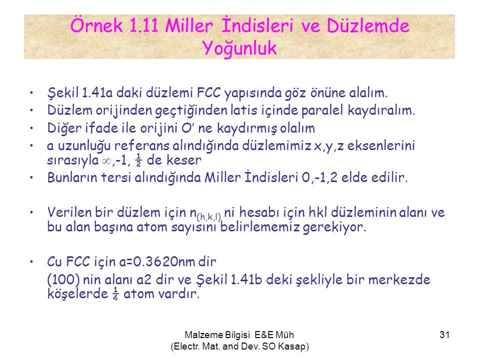 Malzeme Bilgisi E&E Müh (Electr. Mat. and Dev. SO Kasap) 31 Örnek 1.11 Miller İndisleri ve Düzlemde Yoğunluk •Şekil 1.41a daki düzlemi FCC yapısında g