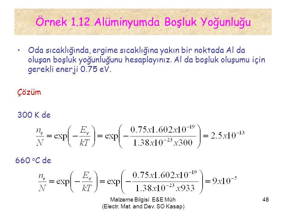 Malzeme Bilgisi E&E Müh (Electr. Mat. and Dev. SO Kasap) 48 Örnek 1.12 Alüminyumda Boşluk Yoğunluğu •Oda sıcaklığında, ergime sıcaklığına yakın bir no