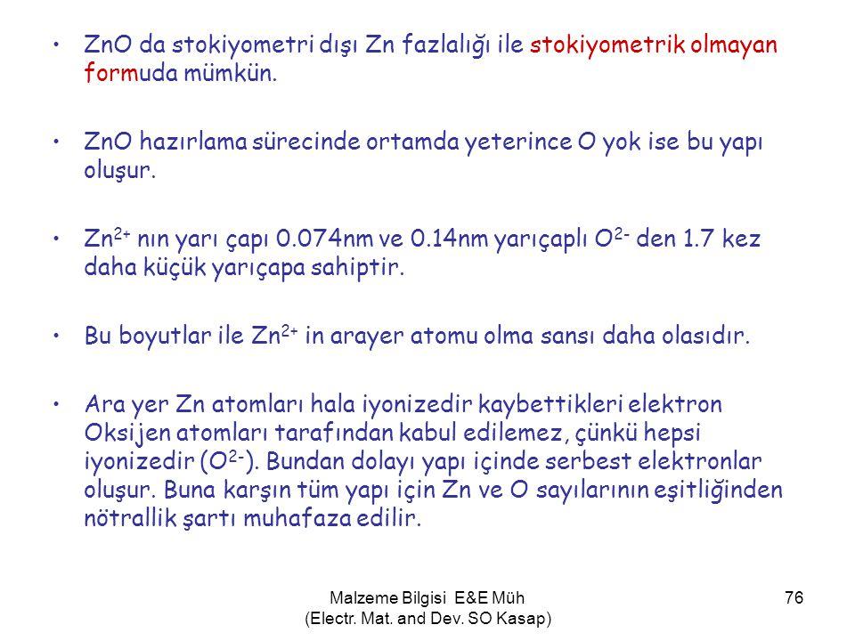 Malzeme Bilgisi E&E Müh (Electr. Mat. and Dev. SO Kasap) 76 •ZnO da stokiyometri dışı Zn fazlalığı ile stokiyometrik olmayan formuda mümkün. •ZnO hazı