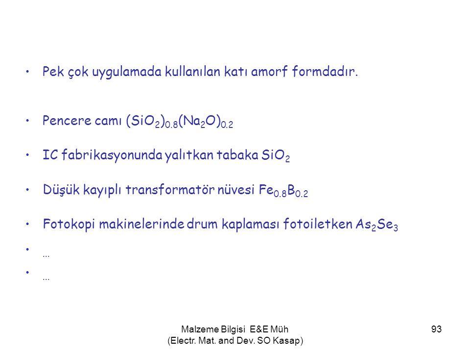 Malzeme Bilgisi E&E Müh (Electr. Mat. and Dev. SO Kasap) 93 •Pek çok uygulamada kullanılan katı amorf formdadır. •Pencere camı (SiO 2 ) 0.8 (Na 2 O) 0