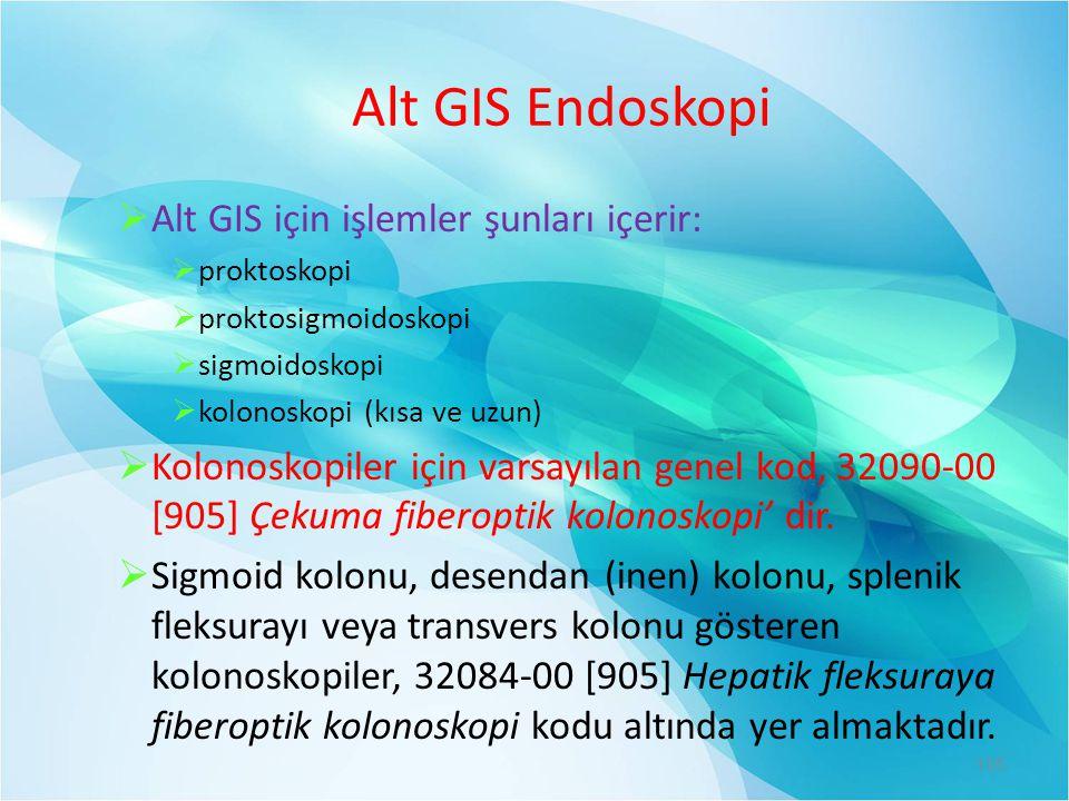 Alt GIS Endoskopi  Alt GIS için işlemler şunları içerir:  proktoskopi  proktosigmoidoskopi  sigmoidoskopi  kolonoskopi (kısa ve uzun)  Kolonosko