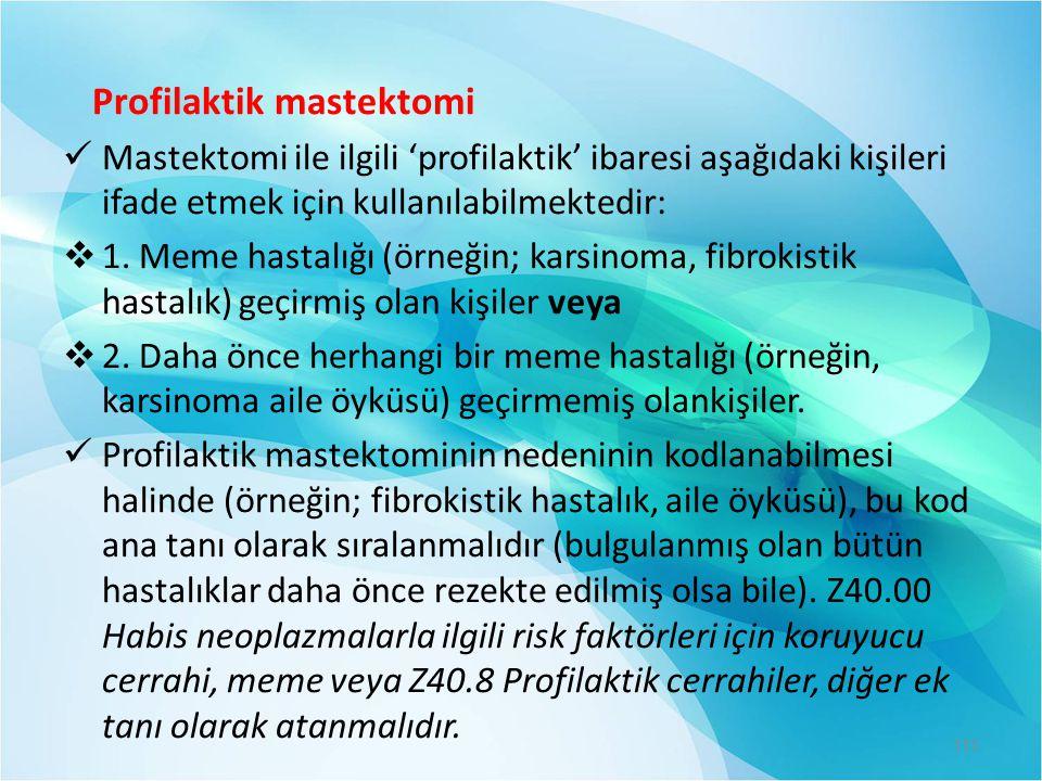 Profilaktik mastektomi  Mastektomi ile ilgili 'profilaktik' ibaresi aşağıdaki kişileri ifade etmek için kullanılabilmektedir:  1. Meme hastalığı (ör