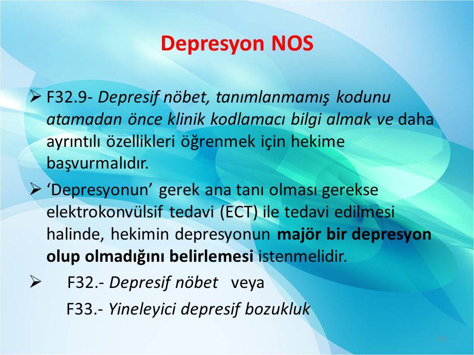 Depresyon NOS  F32.9- Depresif nöbet, tanımlanmamış kodunu atamadan önce klinik kodlamacı bilgi almak ve daha ayrıntılı özellikleri öğrenmek için hek