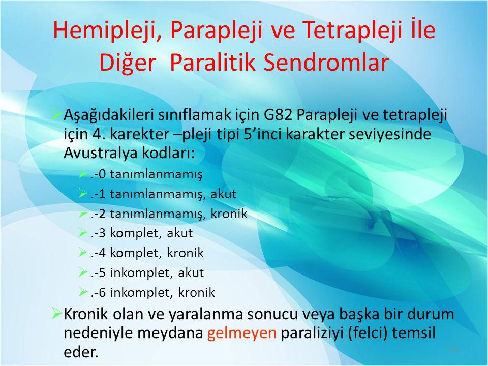 Hemipleji, Parapleji ve Tetrapleji İle Diğer Paralitik Sendromlar  Aşağıdakileri sınıflamak için G82 Parapleji ve tetrapleji için 4. karekter –pleji