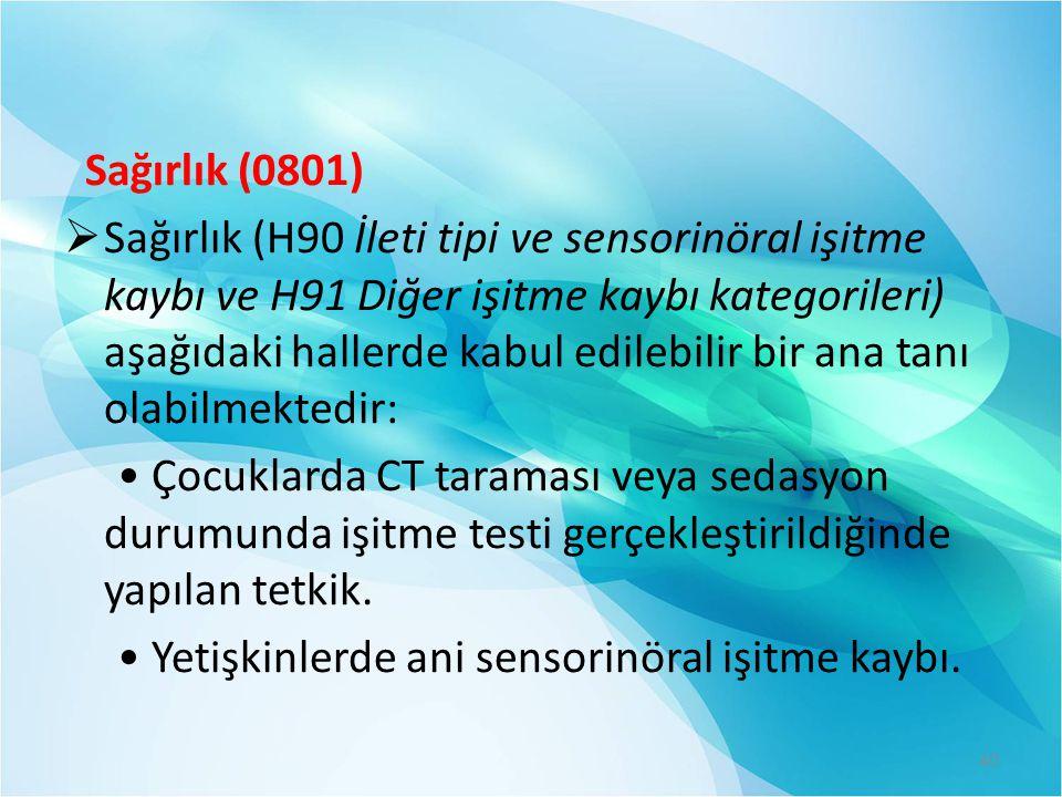 Sağırlık (0801)  Sağırlık (H90 İleti tipi ve sensorinöral işitme kaybı ve H91 Diğer işitme kaybı kategorileri) aşağıdaki hallerde kabul edilebilir bi