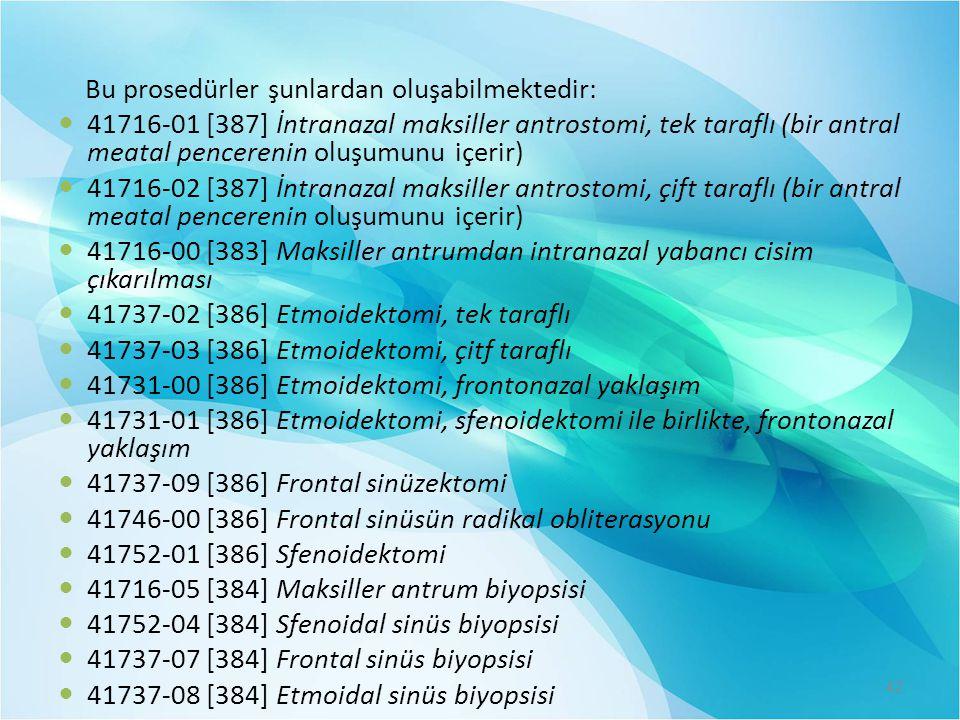 Bu prosedürler şunlardan oluşabilmektedir:  41716-01 [387] İntranazal maksiller antrostomi, tek taraflı (bir antral meatal pencerenin oluşumunu içeri