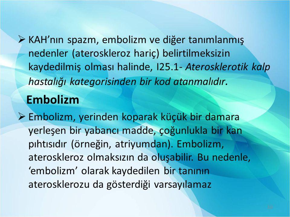  KAH'nın spazm, embolizm ve diğer tanımlanmış nedenler (ateroskleroz hariç) belirtilmeksizin kaydedilmiş olması halinde, I25.1- Aterosklerotik kalp h