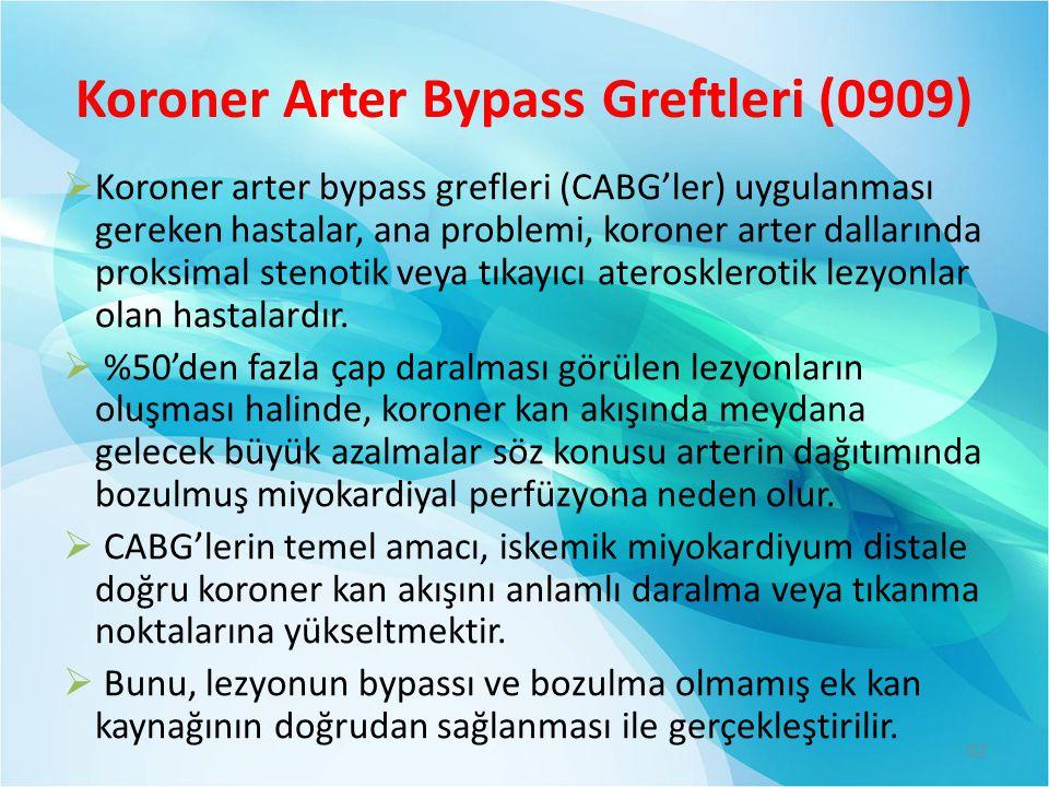 Koroner Arter Bypass Greftleri (0909)  Koroner arter bypass grefleri (CABG'ler) uygulanması gereken hastalar, ana problemi, koroner arter dallarında