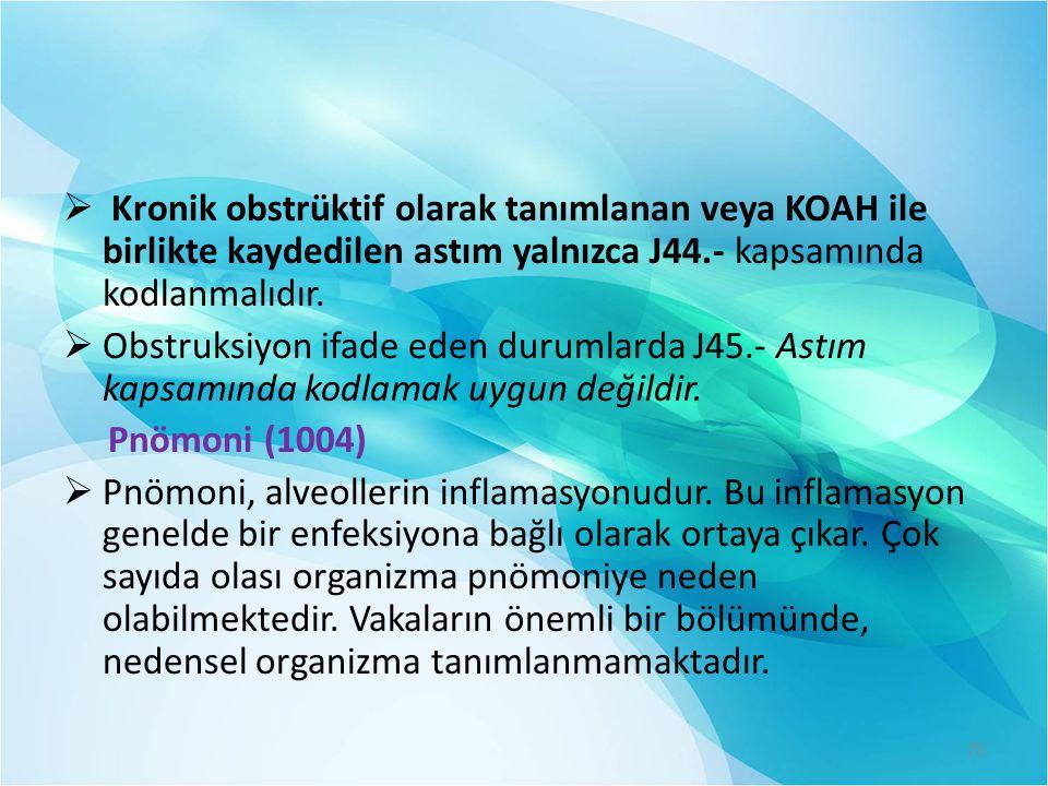  Kronik obstrüktif olarak tanımlanan veya KOAH ile birlikte kaydedilen astım yalnızca J44.- kapsamında kodlanmalıdır.  Obstruksiyon ifade eden durum