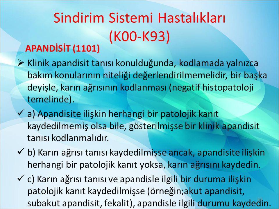 Sindirim Sistemi Hastalıkları (K00-K93) APANDİSİT (1101)  Klinik apandisit tanısı konulduğunda, kodlamada yalnızca bakım konularının niteliği değerle