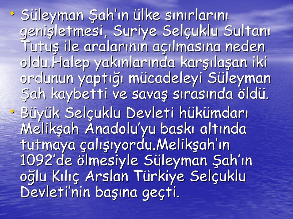 I.KILIÇ ARSLAN DÖNEMİ • Bizans üzerinde baskı kurdu.İzmir'de beylik kurmuş olan Çaka Bey'in kızıyla evlendi.Çaka Bey'in amacı Peçenek Türkleri ile ittifak kurarak İstanbul'u kuşatmak ve ele geçirmekti.Bizans İmparatoru Çaka Bey ile Kılıç Arslan'ın arasını açarak Kılıç Arslan'a Çaka Bey'i ortadan kaldırttı.