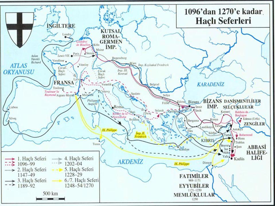 I.Haçlı Seferi (1096-1099) • Avrupa'da farklı ülkelerden gelen kişilerin oluşturduğu ilk haçlı grubu Piyer Lermit komutasında Batı Avrupa'dan yola çıktı.Geçtikleri yerleri yağmalalayarak,Bizans üzerinden İznik'e kadar ilerledi.Anadolu Selçukluları başkenti Konya'ya taşımak zorunda kaldılar.