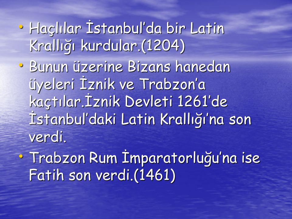 1204 yılında İstanbul un Haçlılar tarafından işgali