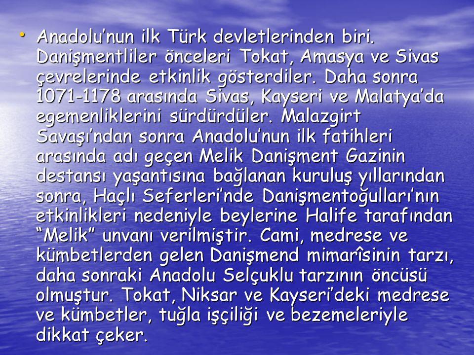 Saltuklular: • Saltuklu Beyliği, Malazgirt Savaşı ndan sonra Büyük Selçuklu Devleti komutanlarından, aynı zamanda seyyid olan Ebulkasım Saltuk Bey in 1071 yılında kurduğu Anadolu Türk Beyliği dir.