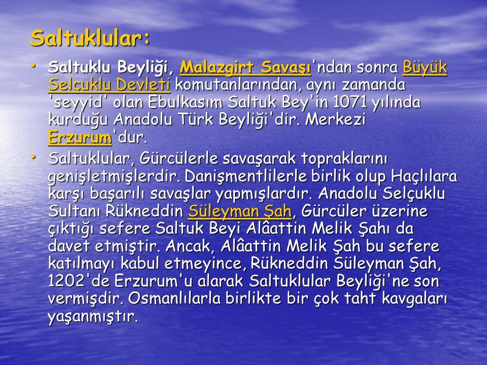 Mengücekliler: Kurucusu olan Mengücük Gâzi, Büyük Selçuklu Devleti sultanlarından Alparslan'ın kumandanlarındandır.
