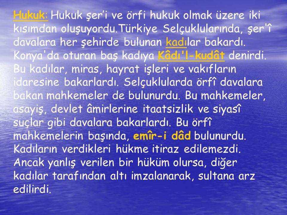 Eğitim, Kültür ve Edebiyat: Anadolu Selçuklu sultanları, kültür ve medeniyet hizmeti için, ilme ve âlimlere değer verdiler.