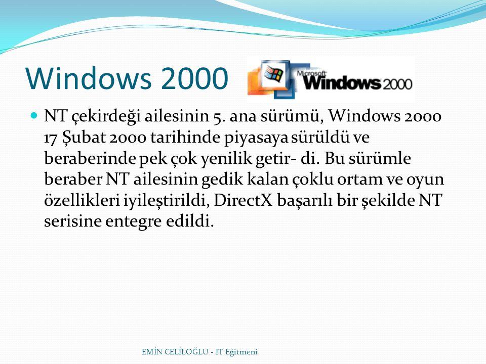 Windows 2000  NT çekirdeği ailesinin 5. ana sürümü, Windows 2000 17 Şubat 2000 tarihinde piyasaya sürüldü ve beraberinde pek çok yenilik getir- di. B
