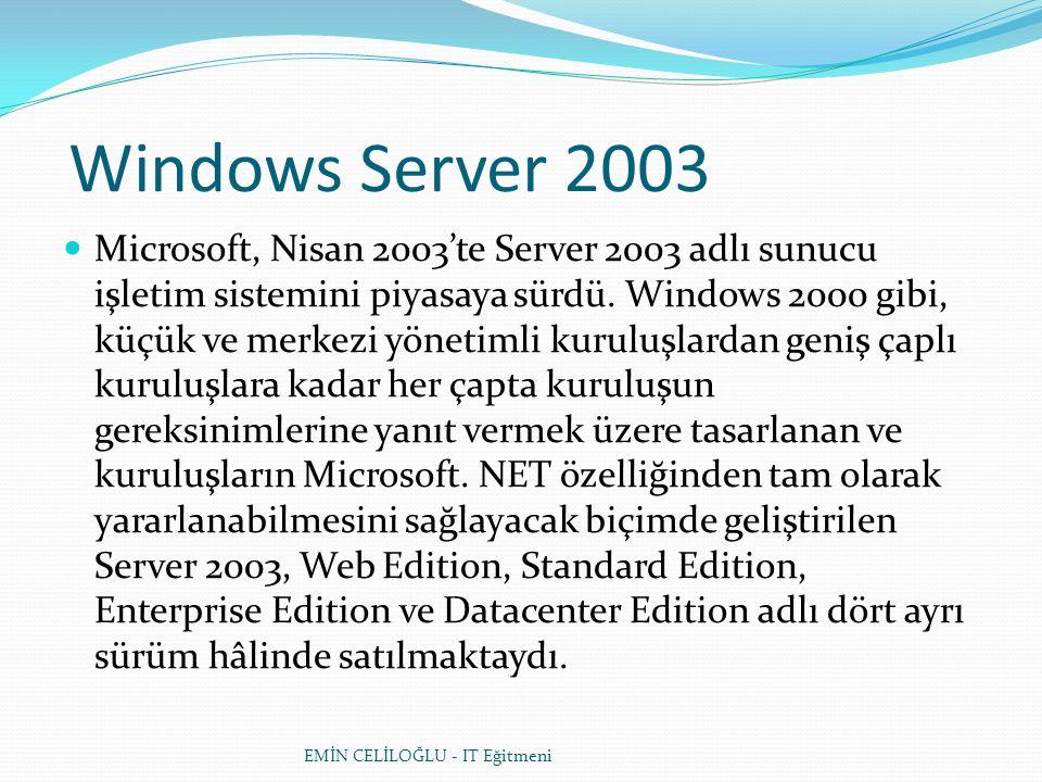 Windows Server 2003  Microsoft, Nisan 2003'te Server 2003 adlı sunucu işletim sistemini piyasaya sürdü. Windows 2000 gibi, küçük ve merkezi yönetimli