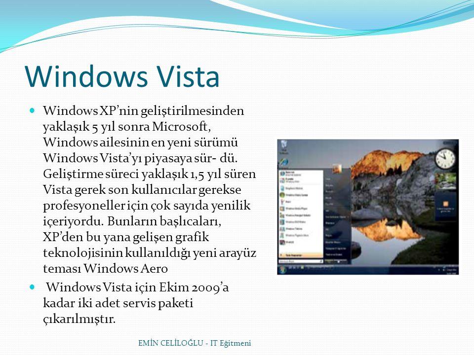 Windows Vista  Windows XP'nin geliştirilmesinden yaklaşık 5 yıl sonra Microsoft, Windows ailesinin en yeni sürümü Windows Vista'yı piyasaya sür- dü.