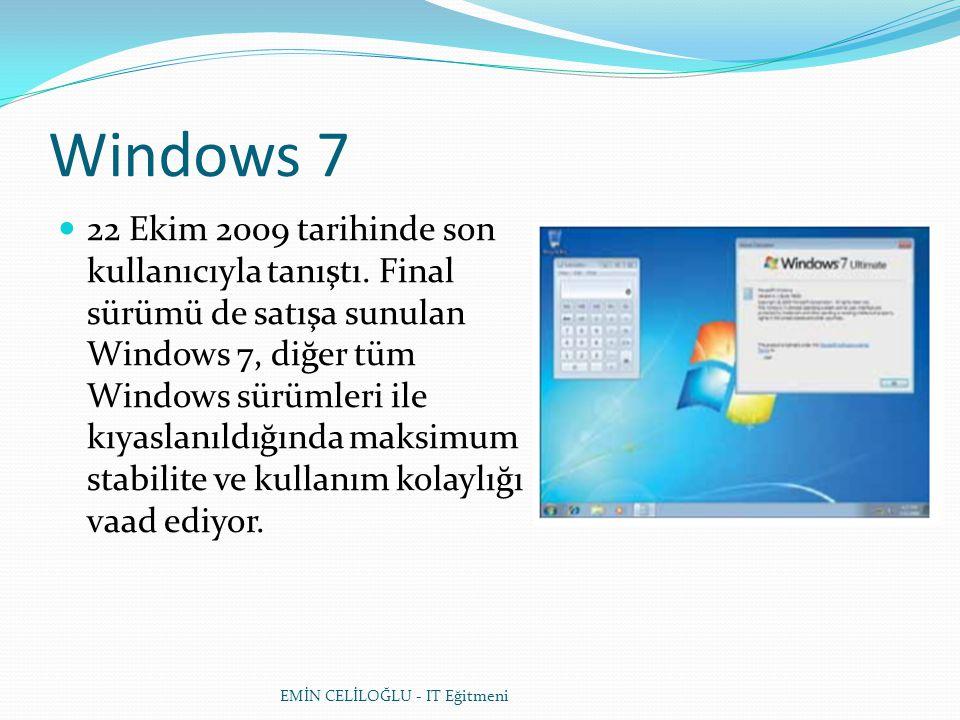 Windows 7  22 Ekim 2009 tarihinde son kullanıcıyla tanıştı. Final sürümü de satışa sunulan Windows 7, diğer tüm Windows sürümleri ile kıyaslanıldığın