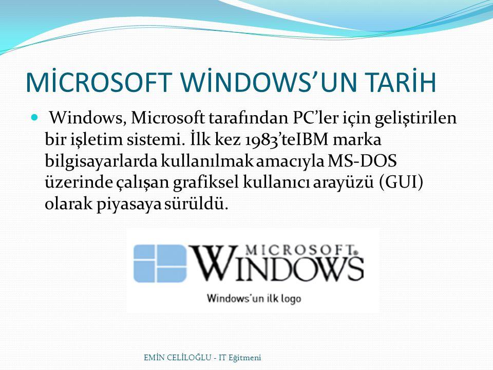 MİCROSOFT WİNDOWS'UN TARİH  Windows, Microsoft tarafından PC'ler için geliştirilen bir işletim sistemi. İlk kez 1983'teIBM marka bilgisayarlarda kull