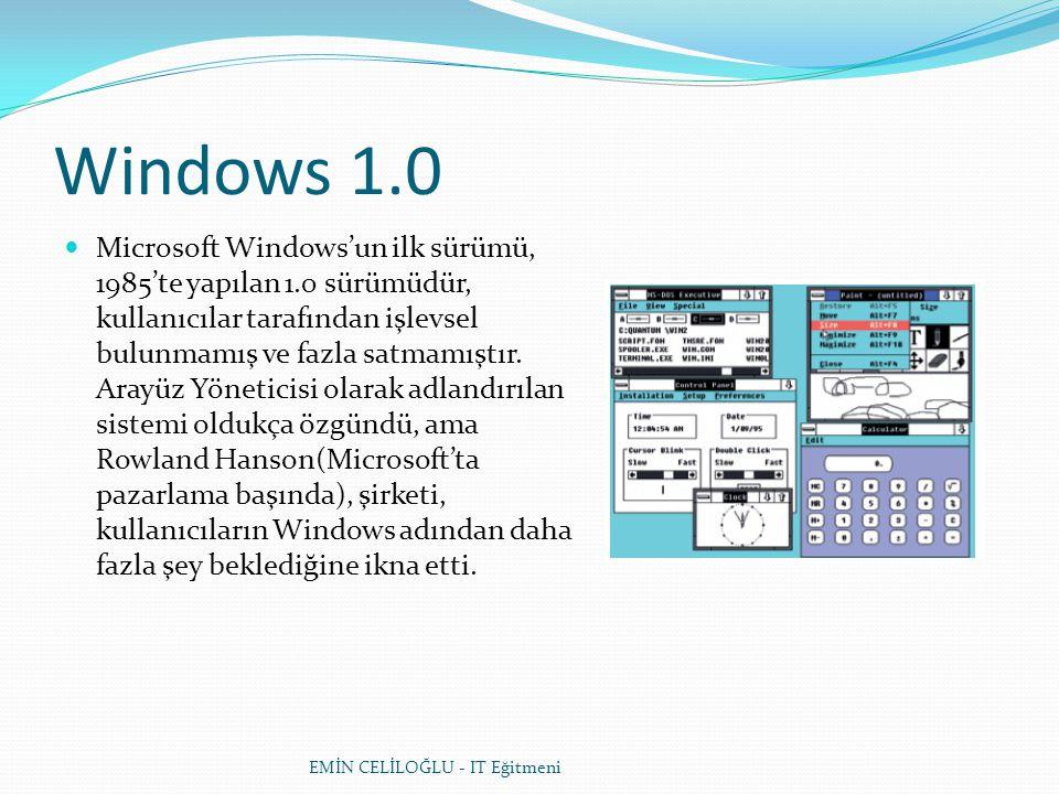 Windows 1.0  Microsoft Windows'un ilk sürümü, 1985'te yapılan 1.0 sürümüdür, kullanıcılar tarafından işlevsel bulunmamış ve fazla satmamıştır. Arayüz