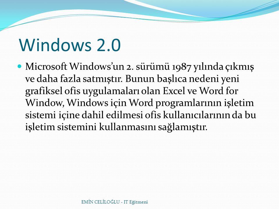 Windows 2.0  Microsoft Windows'un 2. sürümü 1987 yılında çıkmış ve daha fazla satmıştır. Bunun başlıca nedeni yeni grafiksel ofis uygulamaları olan E