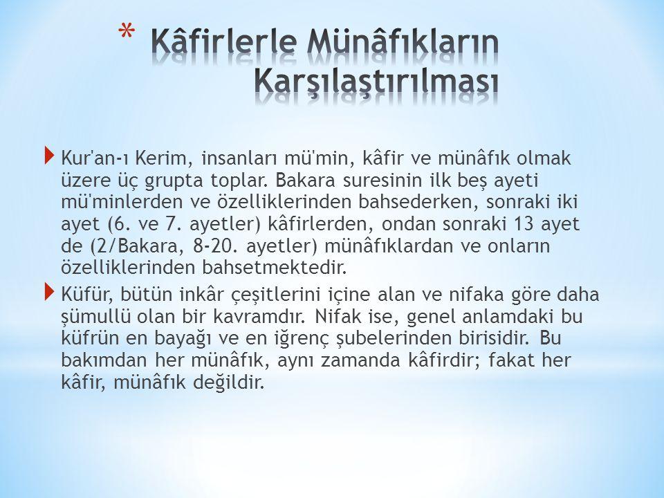  Kur an-ı Kerim, insanları mü min, kâfir ve münâfık olmak üzere üç grupta toplar.