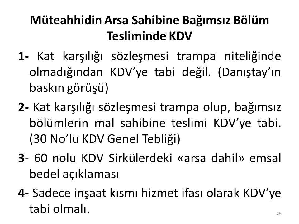 Müteahhidin Arsa Sahibine Bağımsız Bölüm Tesliminde KDV 1- Kat karşılığı sözleşmesi trampa niteliğinde olmadığından KDV'ye tabi değil.