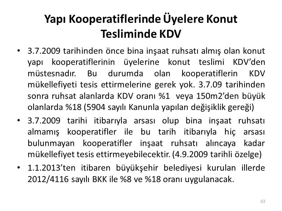 Yapı Kooperatiflerinde Üyelere Konut Tesliminde KDV • 3.7.2009 tarihinden önce bina inşaat ruhsatı almış olan konut yapı kooperatiflerinin üyelerine konut teslimi KDV'den müstesnadır.