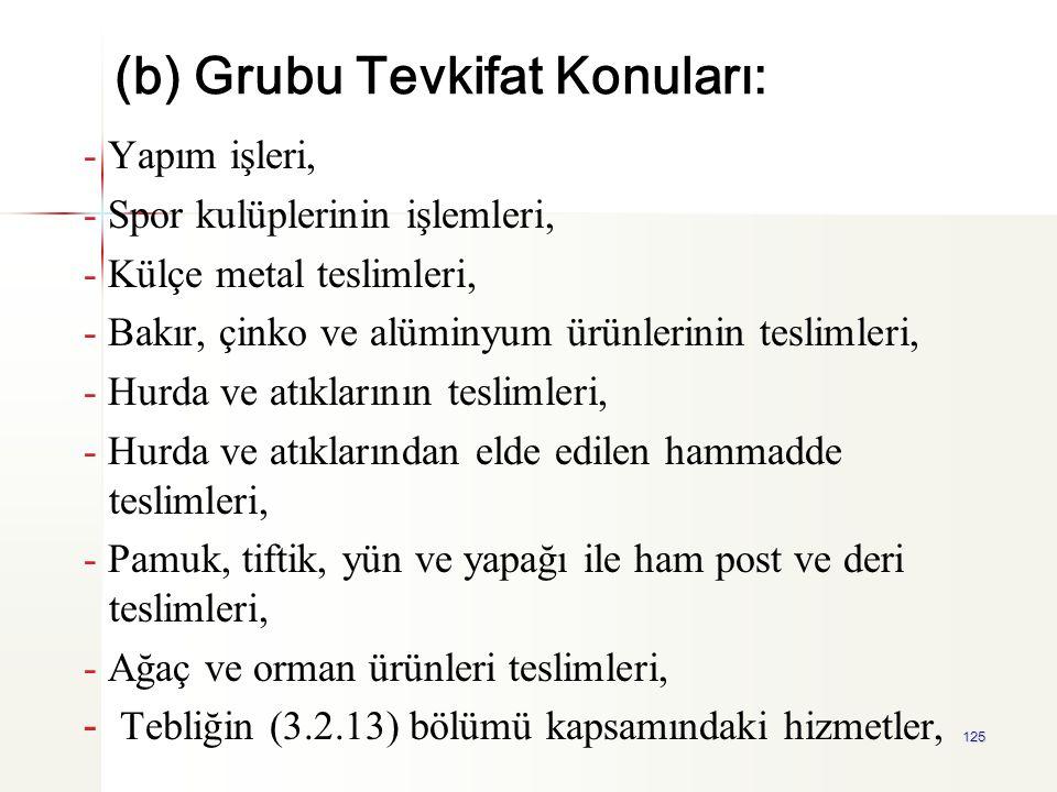 125 (b) Grubu Tevkifat Konuları: - Yapım işleri, - Spor kulüplerinin işlemleri, - Külçe metal teslimleri, - Bakır, çinko ve alüminyum ürünlerinin tesl