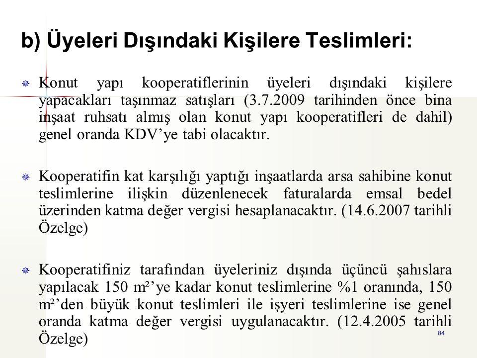 84 b) Üyeleri Dışındaki Kişilere Teslimleri:   Konut yapı kooperatiflerinin üyeleri dışındaki kişilere yapacakları taşınmaz satışları (3.7.2009 tari