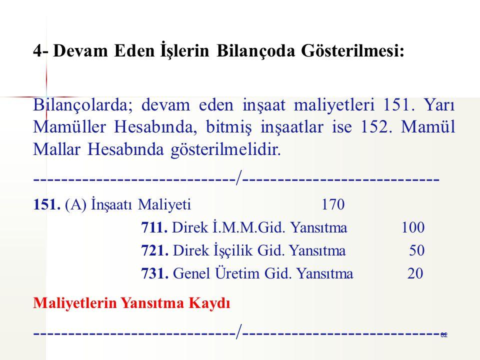82 4- Devam Eden İşlerin Bilançoda Gösterilmesi: Bilançolarda; devam eden inşaat maliyetleri 151. Yarı Mamüller Hesabında, bitmiş inşaatlar ise 152. M