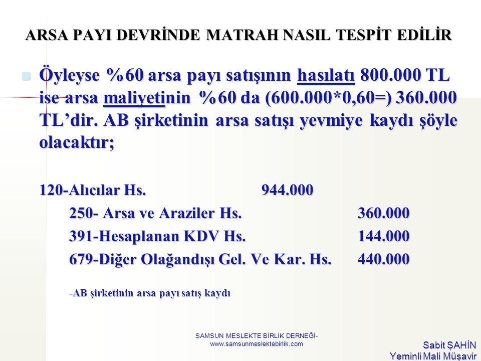 ARSA PAYI DEVRİNDE MATRAH NASIL TESPİT EDİLİR  Öyleyse %60 arsa payı satışının hasılatı 800.000 TL ise arsa maliyetinin %60 da (600.000*0,60=) 360.00