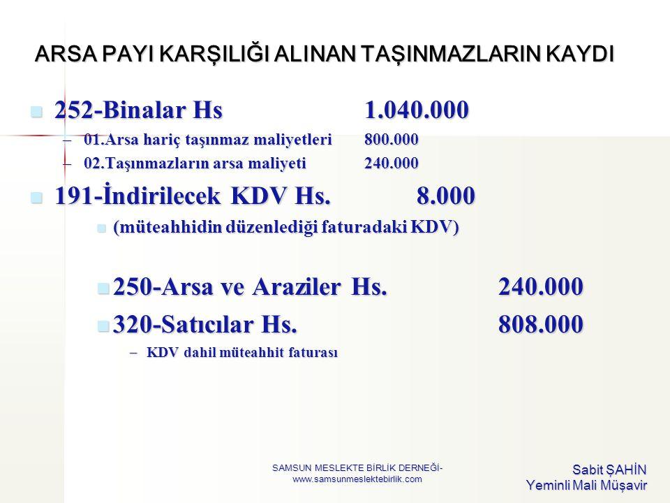 ARSA PAYI KARŞILIĞI ALINAN TAŞINMAZLARIN KAYDI  252-Binalar Hs1.040.000 –01.Arsa hariç taşınmaz maliyetleri800.000 –02.Taşınmazların arsa maliyeti240
